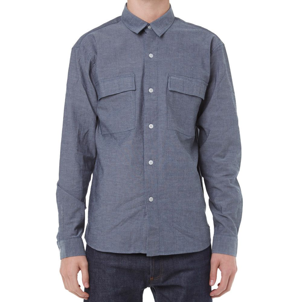 8d93451ce49 MHL by Margaret Howell Double Pocket Chambray Overshirt Indigo | END.