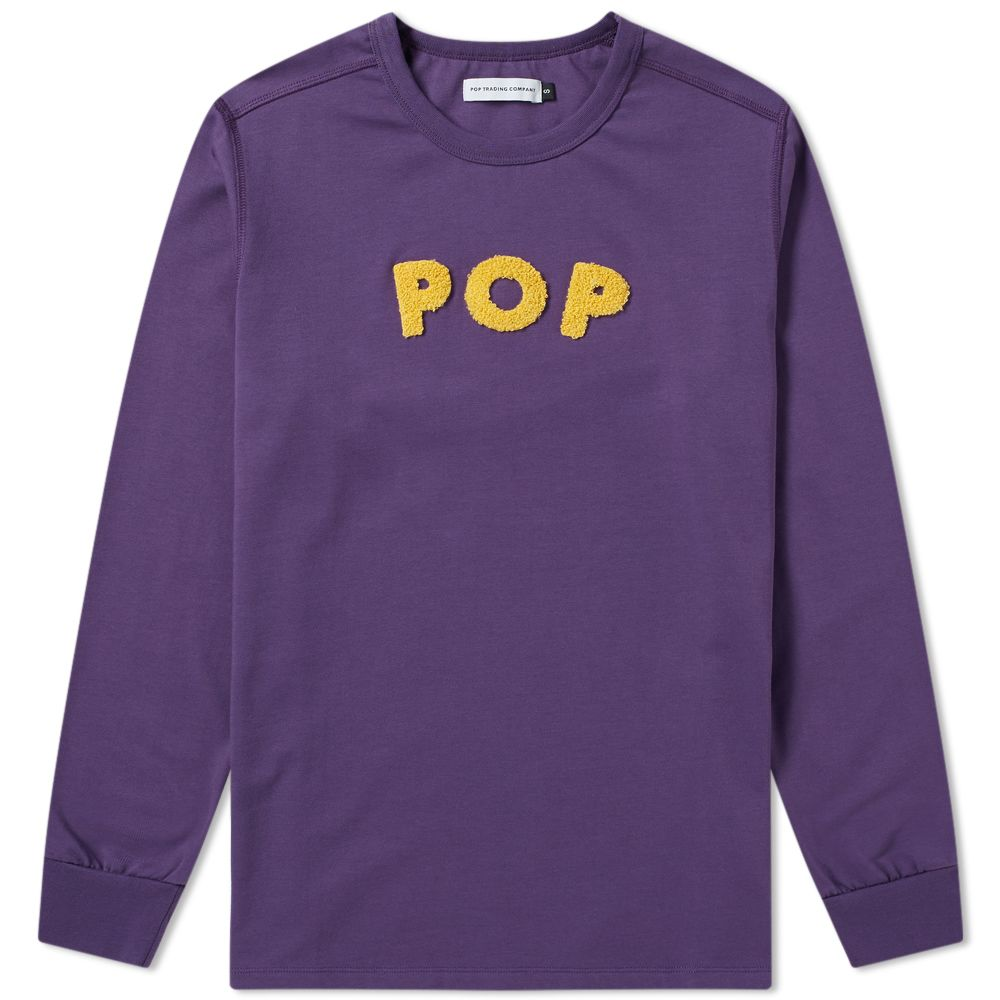 d19d0beb82aef Pop Trading Company Long Sleeve Logo Applique Tee Eggplant