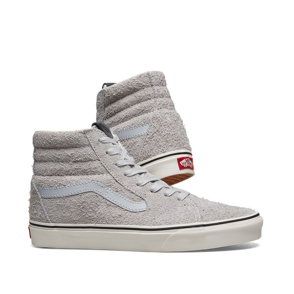 0d5be67ffe3 Vans Hairy Suede Sk8-Hi Gray Dawn   Snow White