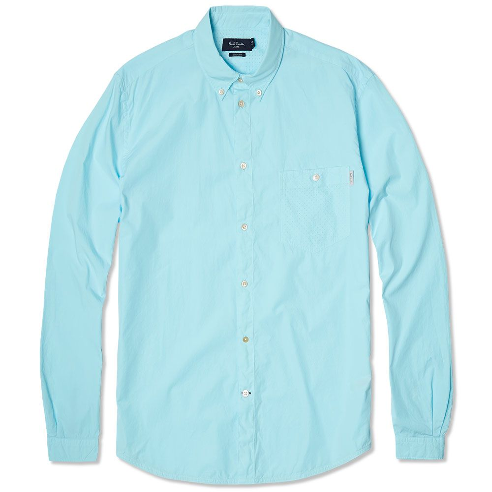 3c72a3978623 Paul Smith Garment Dyed Laser Cut Pocket Shirt Aqua