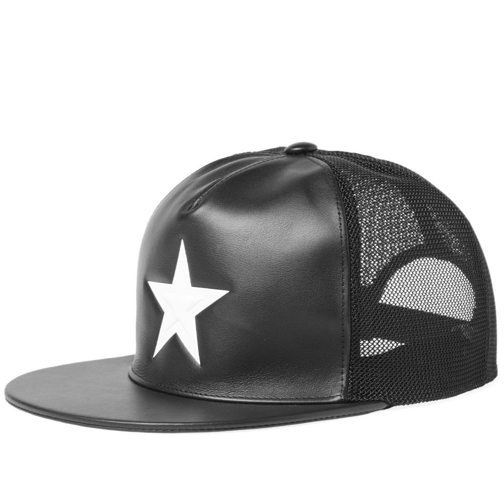 49a900a8e0a Givenchy White Star Leather Cap Black   White