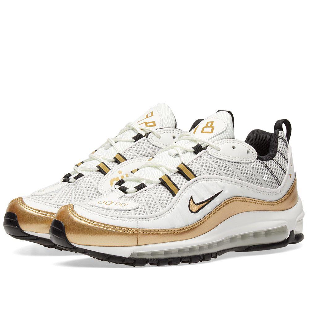 separation shoes 1cf0e df67b Nike Air Max 98 UK GMT Summit White  Metallic Gold  END.