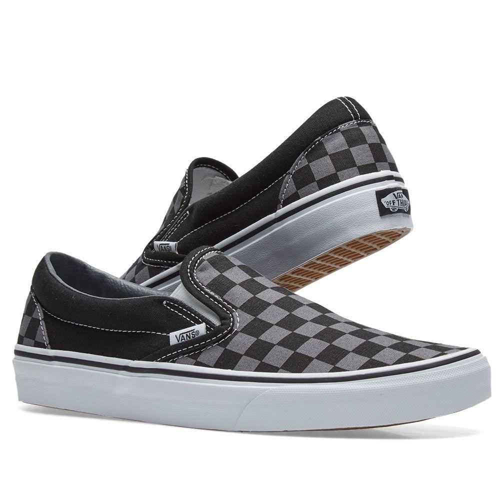 663f4130110 Vans Classic Slip On Black   Pewter Check