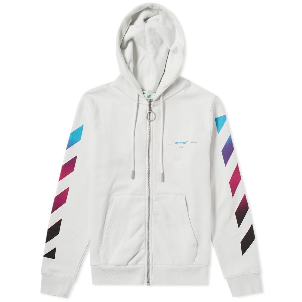 a88ec5cbc29a Off-White Diagonal Gradient Zip Hoody White   Multi