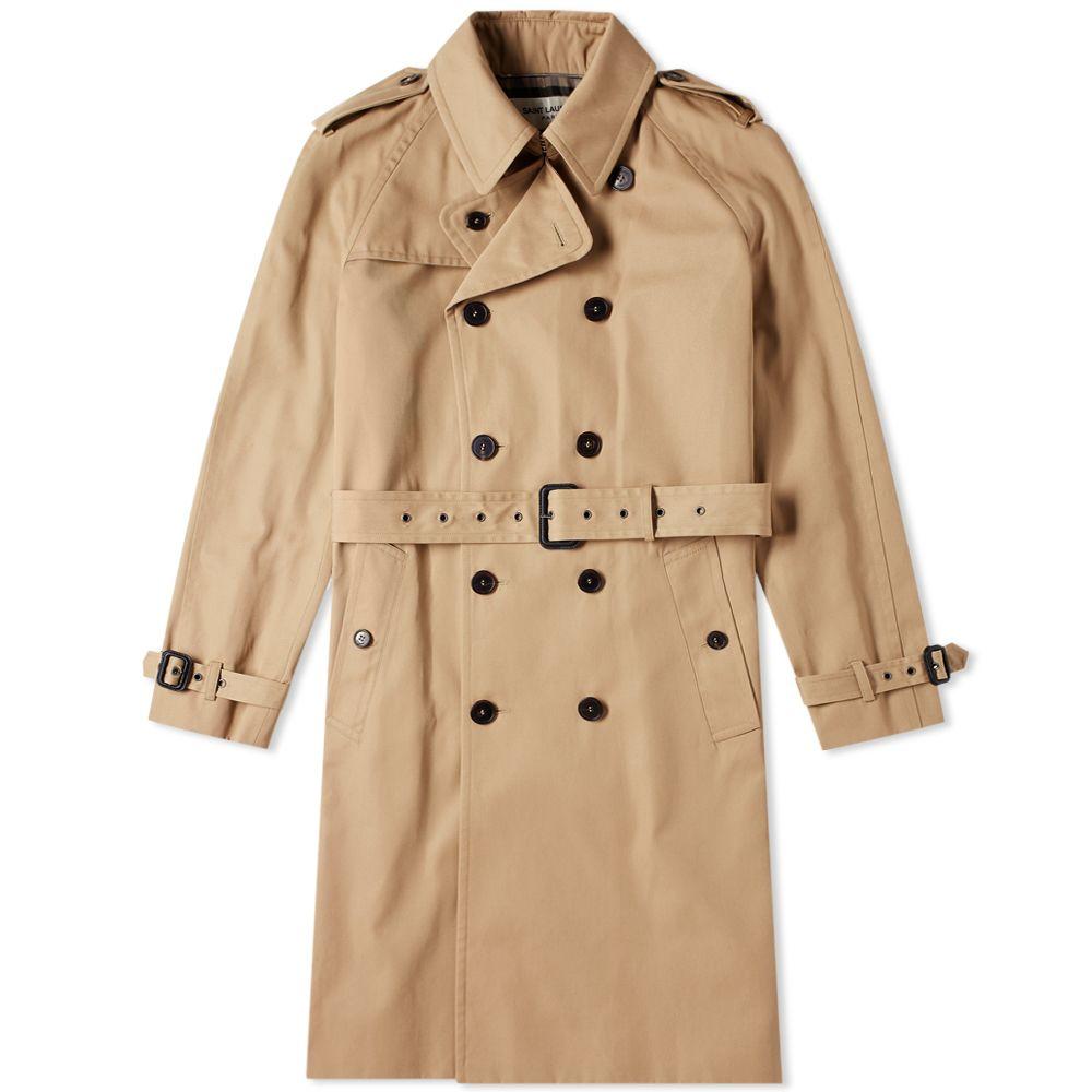 3f0a3e34abc0 Saint Laurent Belted Trench Coat Beige