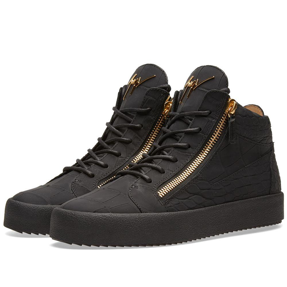 9c9df3c3b65 Giuseppe Zanotti Matt Croc Mid Sneaker Triple Black