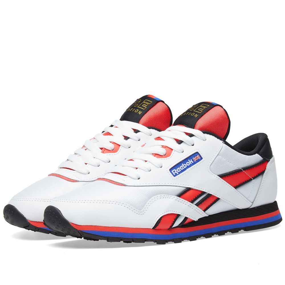 Reebok X P E Nation Clic Nylon White Day Glow Red End b6aa46a6b