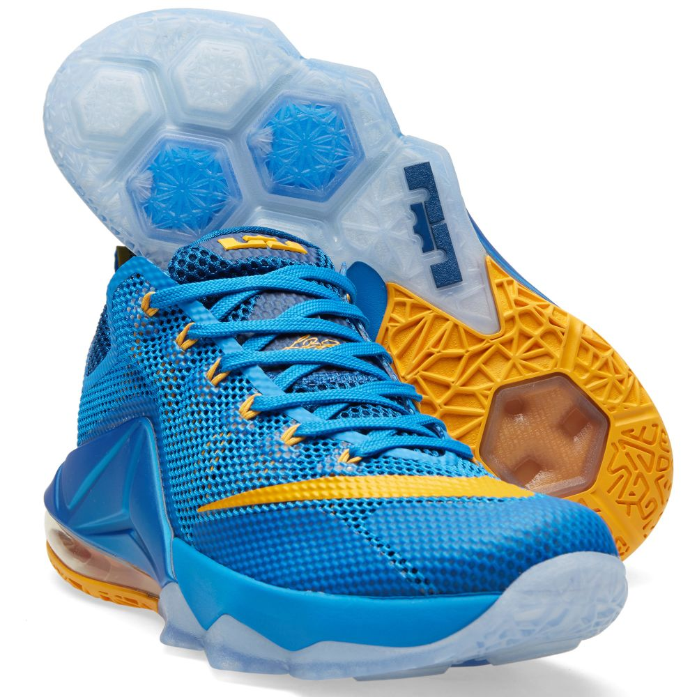 66e66b4c6515 Nike LeBron XII Low  Entourage  Photo Blue   University Gold