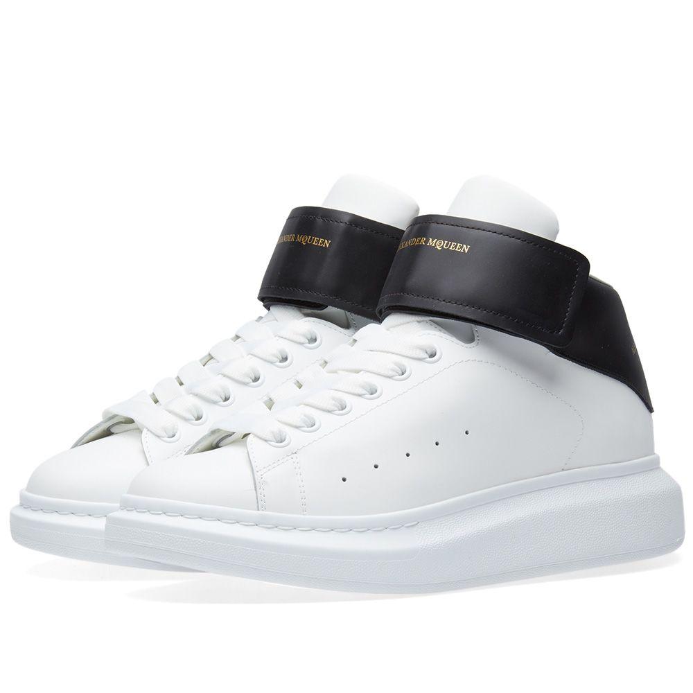 974b87a33cf2a Alexander McQueen Wedge Sole Triple Velcro Sneaker White   Black