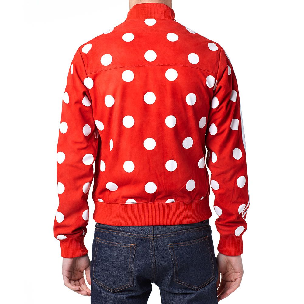 the latest be7ff dcdeb Adidas x Pharrell Big Polka Dot Leather Track Top Red   END.