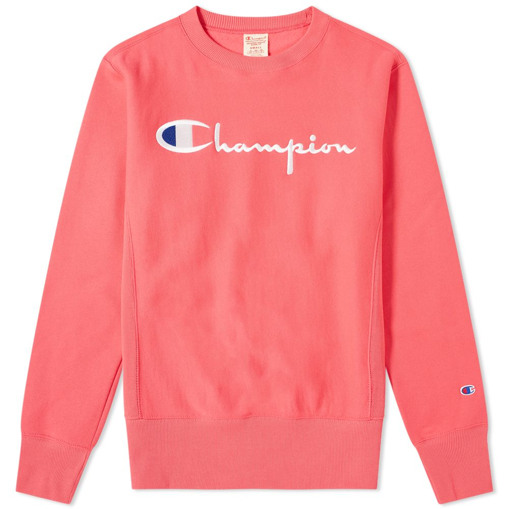 491ad056 Champion Reverse Weave Script Logo Crew Sweat Fluo Pink | END.