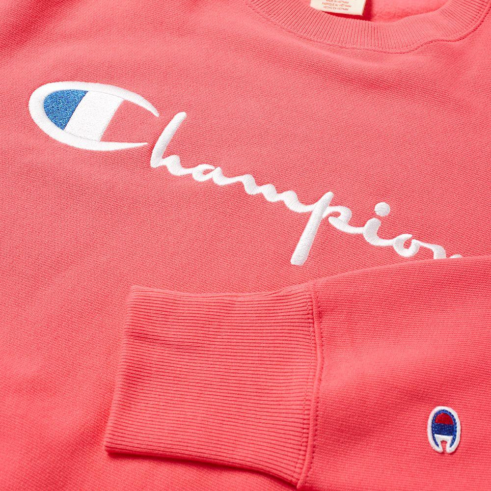 20e5ad0b90b6 Champion Reverse Weave Script Logo Crew Sweat Fluo Pink