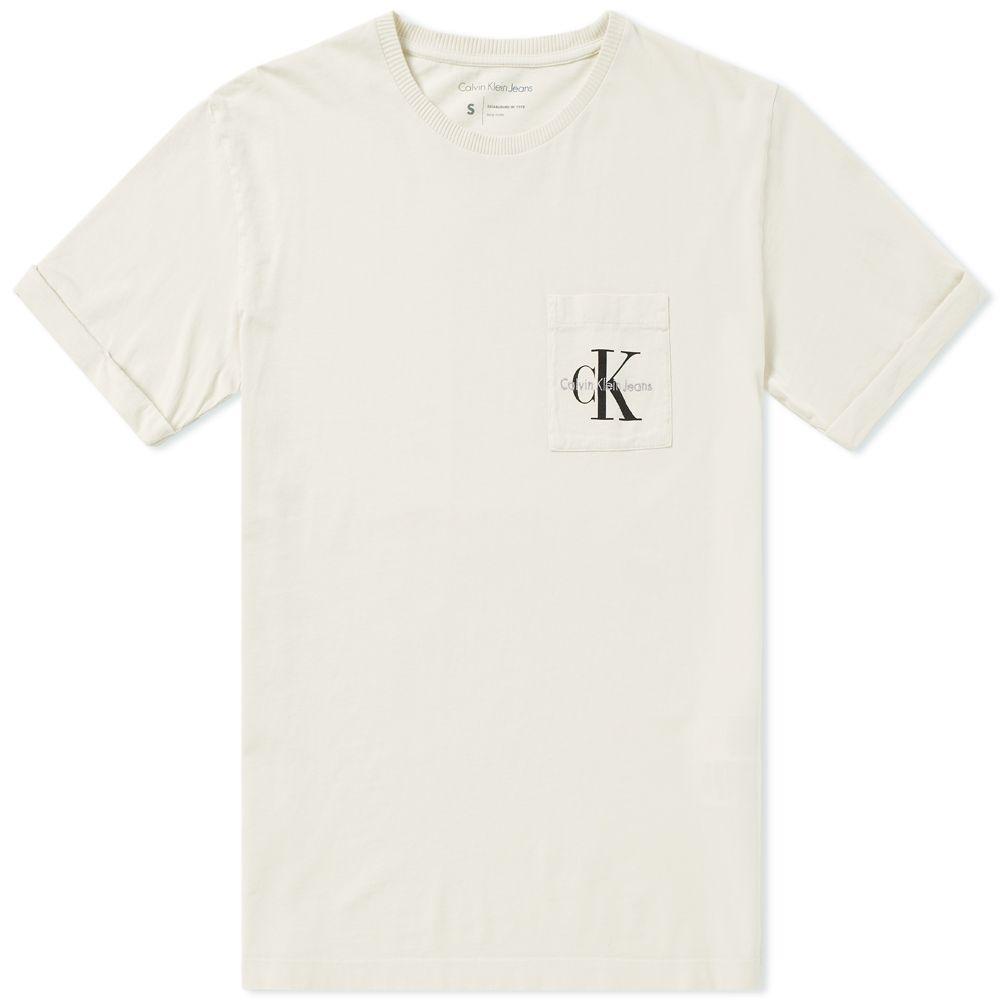 Calvin Klein Jeans Logo Pocket Tee Natural  e3092f473cd2