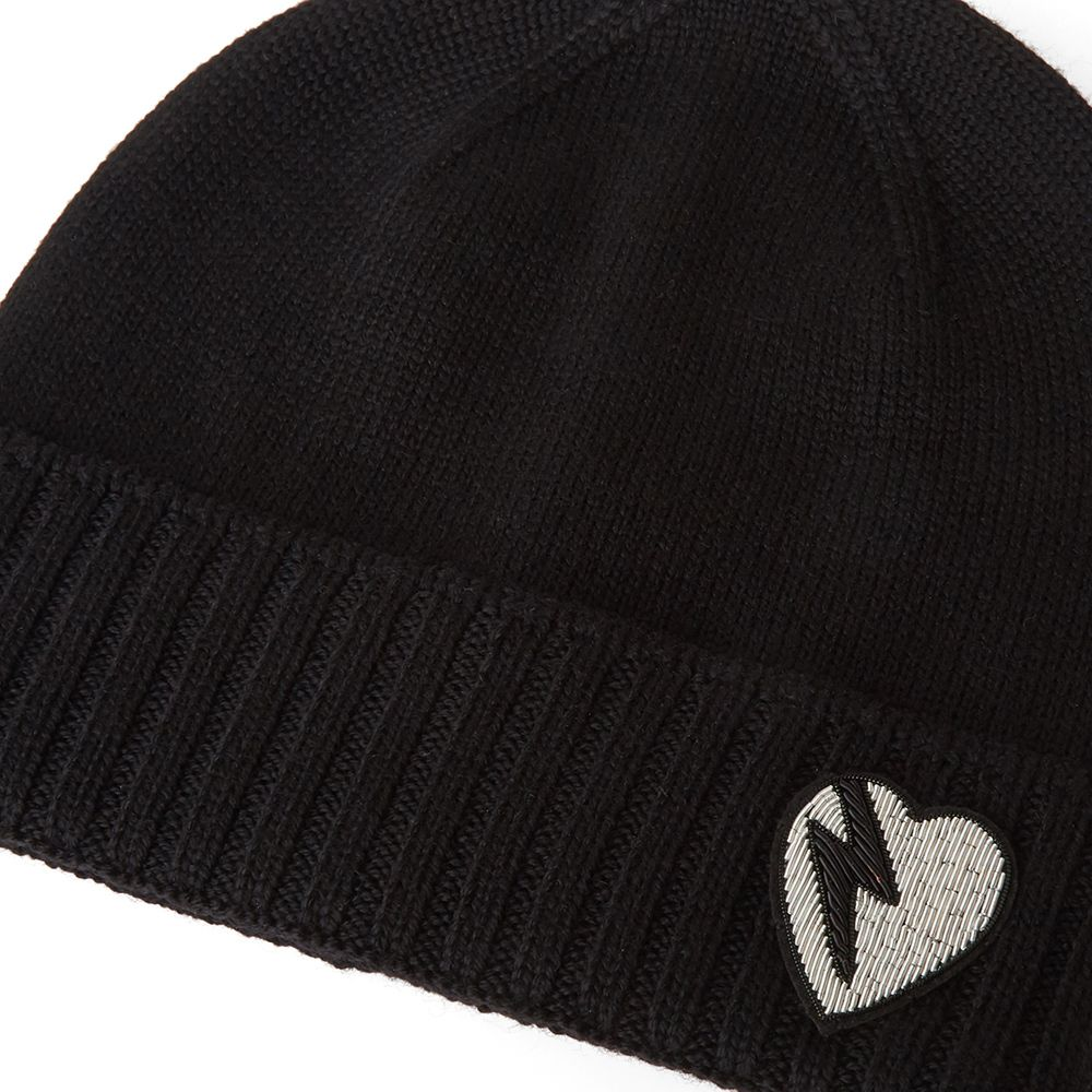 Saint Laurent Heart Knit Beanie Black   White  0fd5b427cc2
