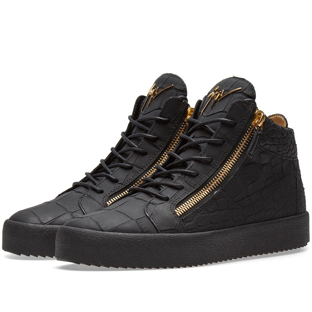 140fc4958bc6 Giuseppe Zanotti Leather Croc Double Zip Mid Sneaker Gold   Black
