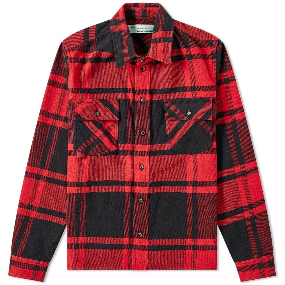 e267be1cc37e Off-White Stencil Diagonals Checked Flannel Shirt Red   Black