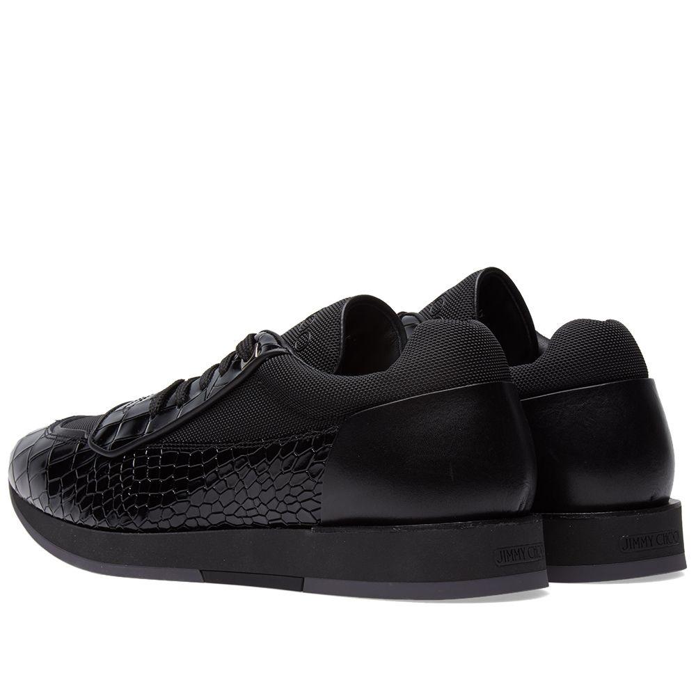 aeaff786095 Jimmy Choo Jett Sneaker Black Embossed Croc