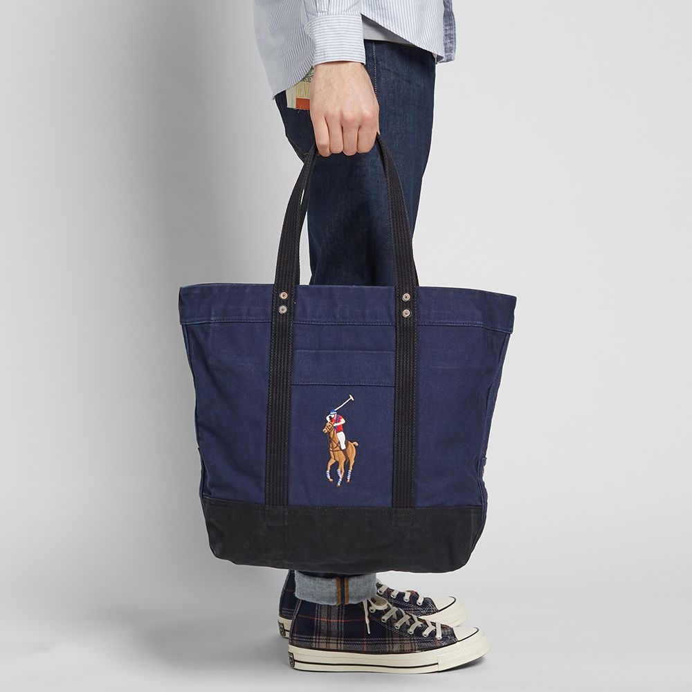 e561dabca2ec Polo Ralph Lauren Multi Polo Player Canvas Tote Navy   Black
