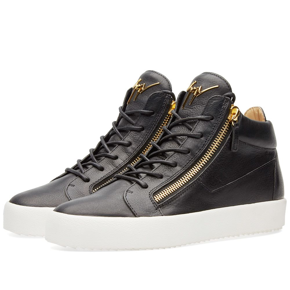9168f6e9a103 Giuseppe Zanotti Double Zip Mid Sneaker Black   Gold