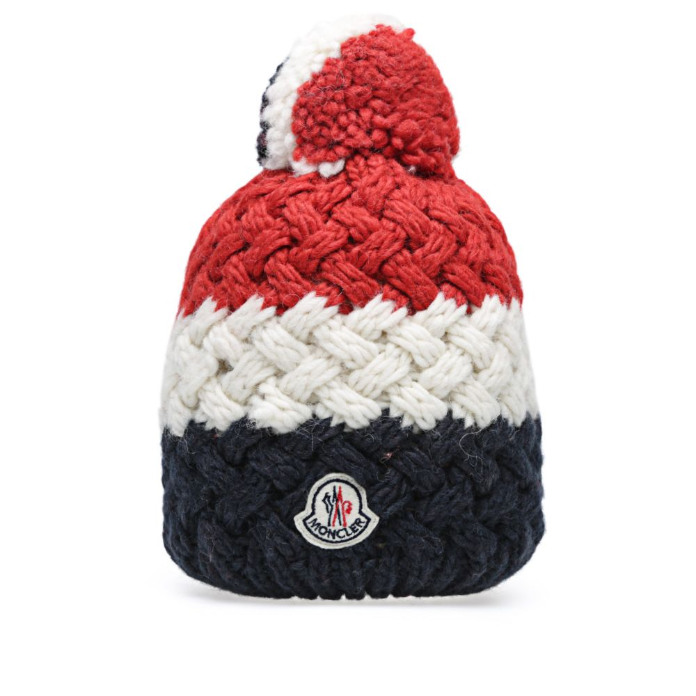 Moncler Tricolour Knitted Pom Pom Hat Navy 5517c4522b5