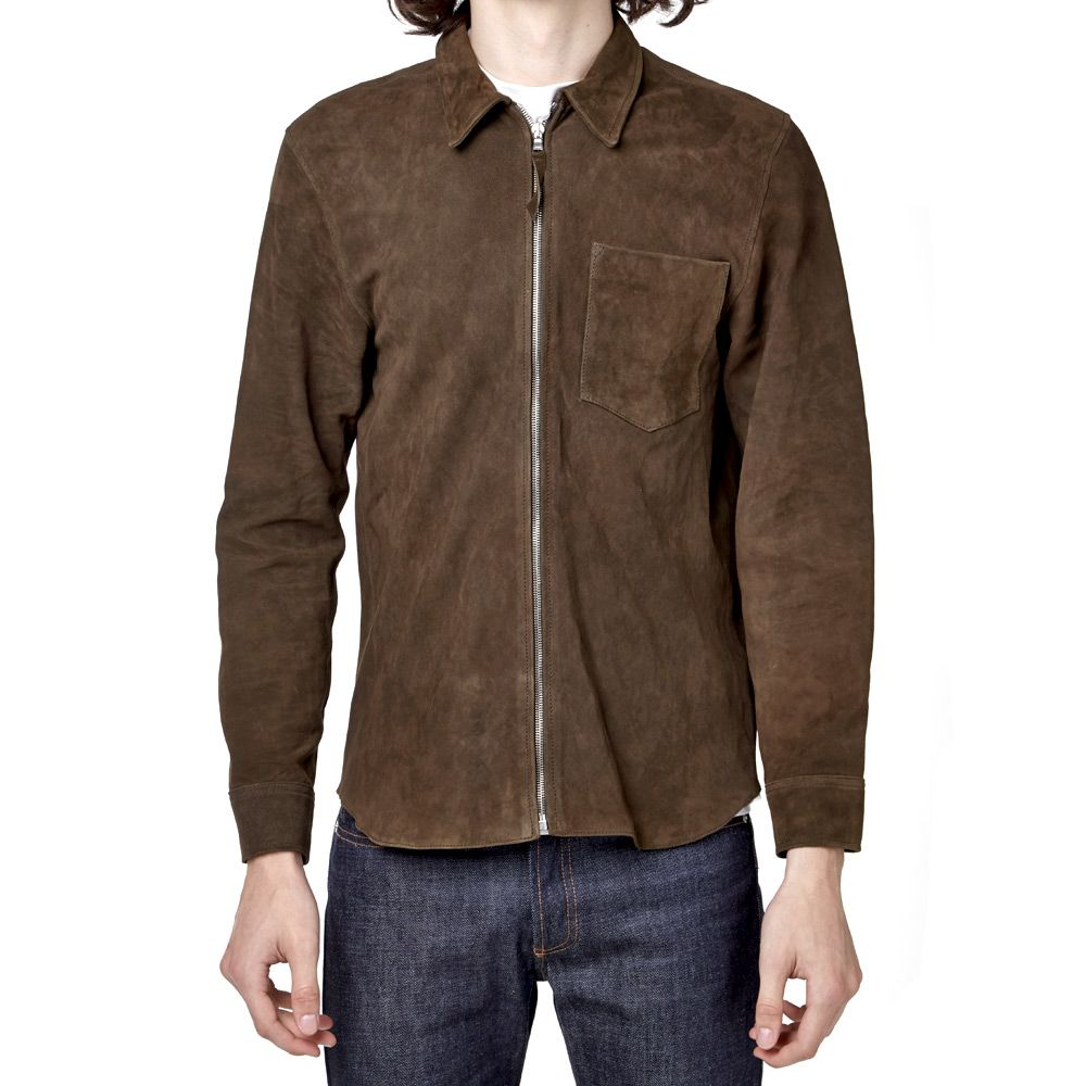 82a853b91ea27 Our Legacy Suede Zip Shirt Jacket Olive Mudd