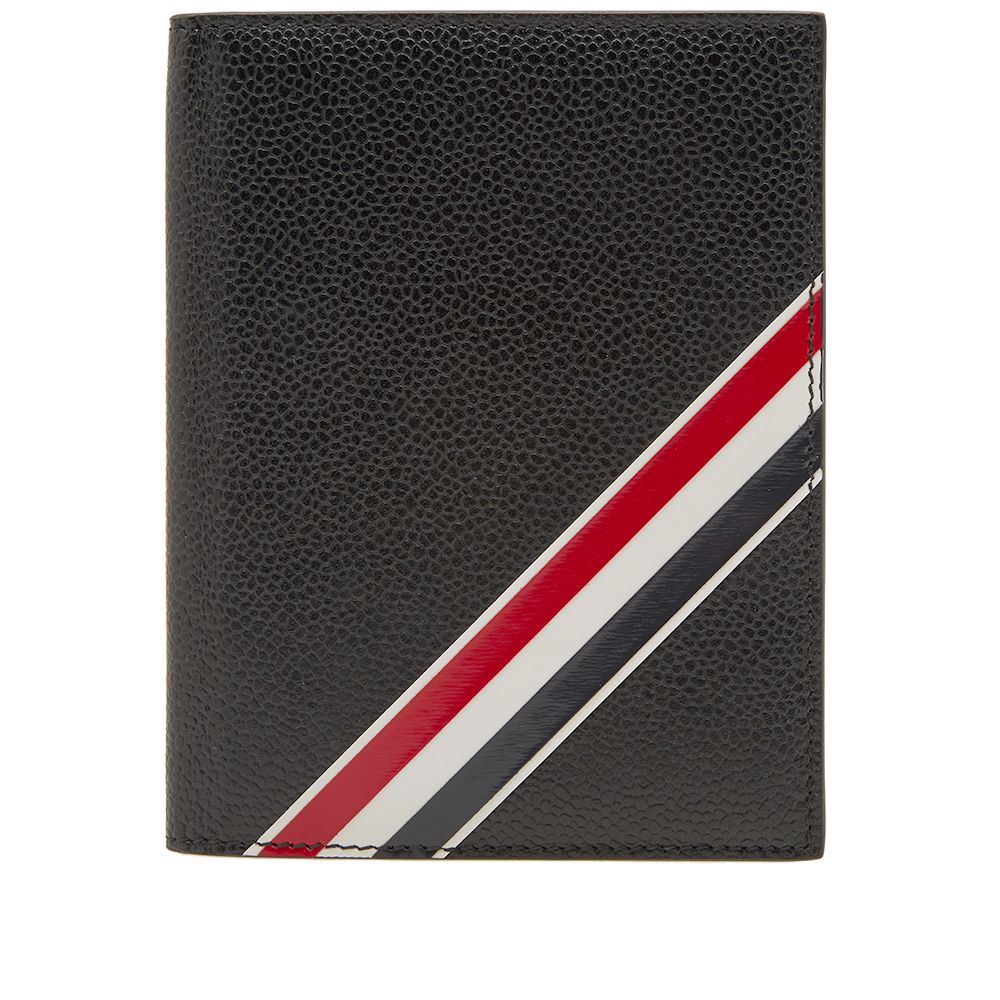 b5b1accbd96 Thom Browne Diagonal Stripe Passport Holder Black