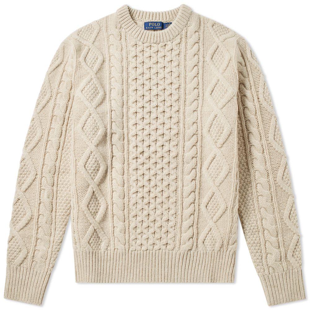 eb89a3c6bb4b86 Polo Ralph Lauren Aran Crew Knit Cream