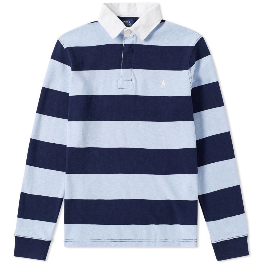 Polo Ralph Lauren Stripe Rugby Shirt French Navy Elite Blue End