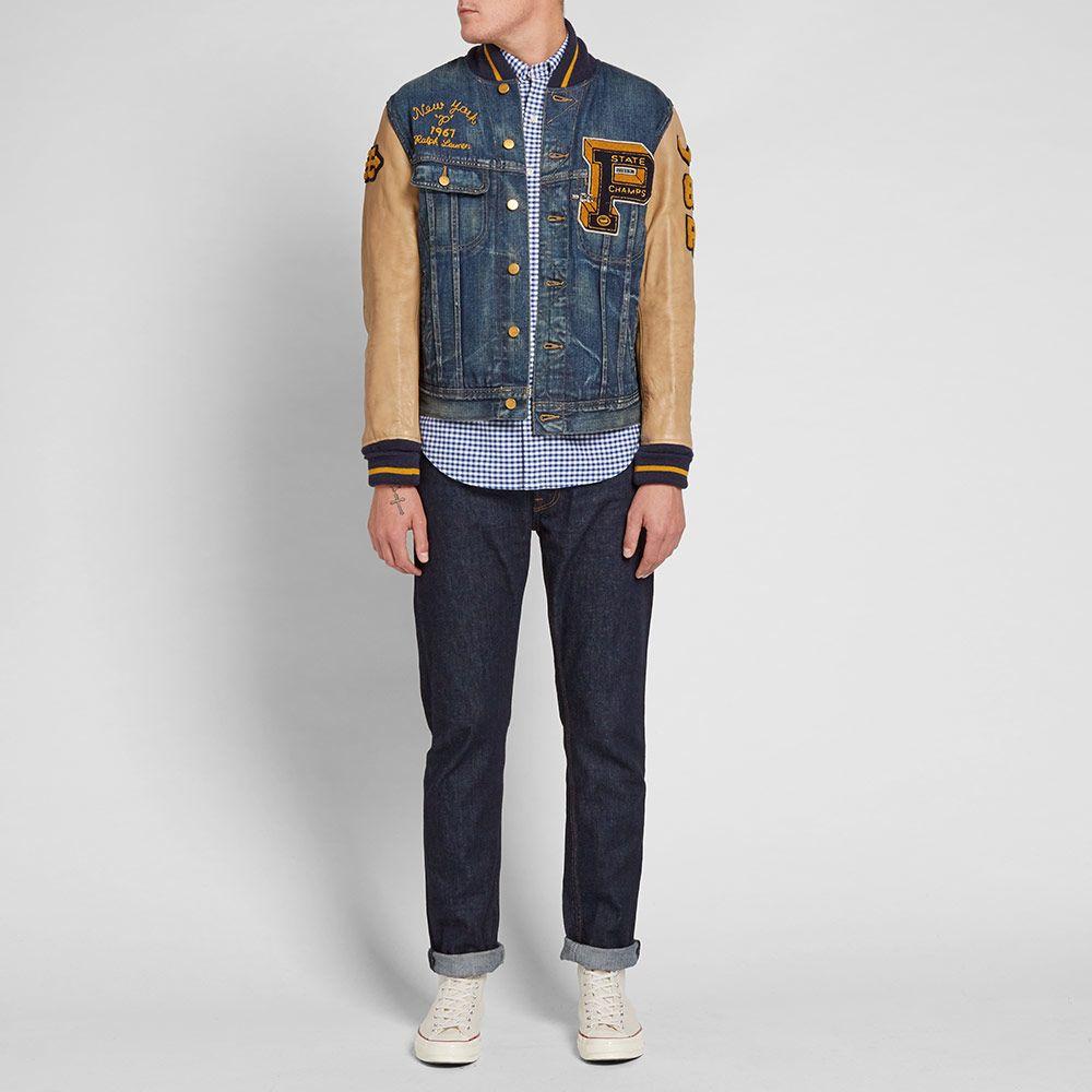 6553346d61a3 Polo Ralph Lauren Varsity Denim Jacket Medium Stonewash
