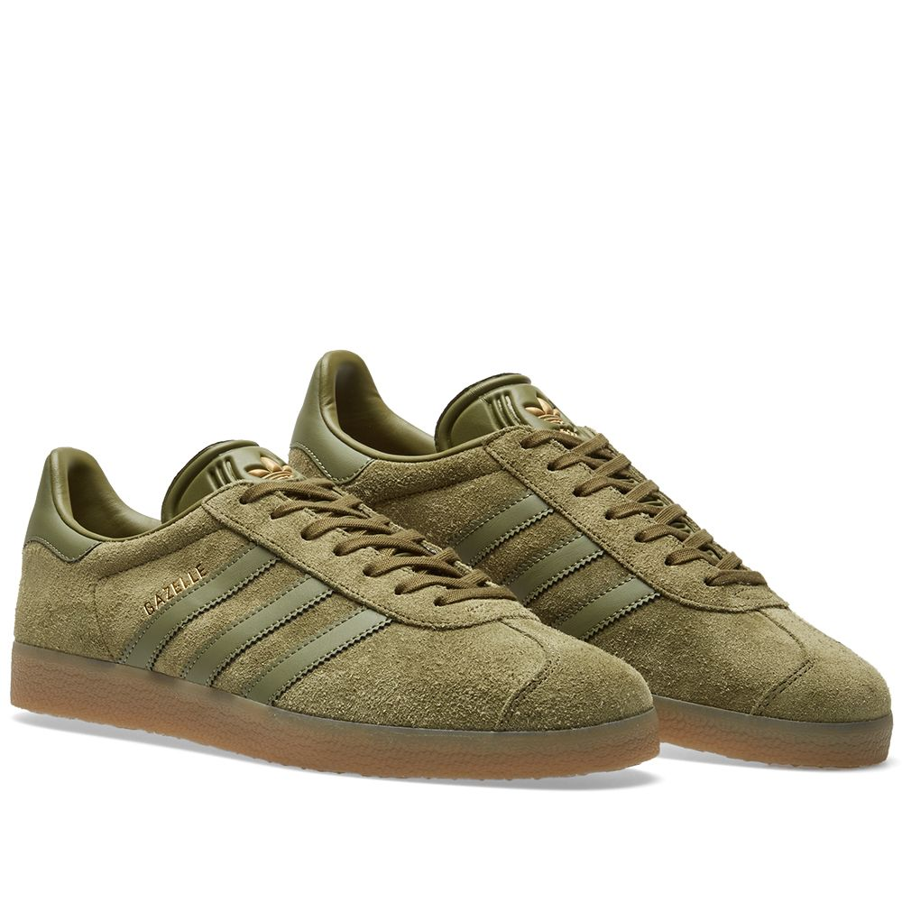hot sale online d7877 15984 Adidas Gazelle Olive Cargo  Gum  END.