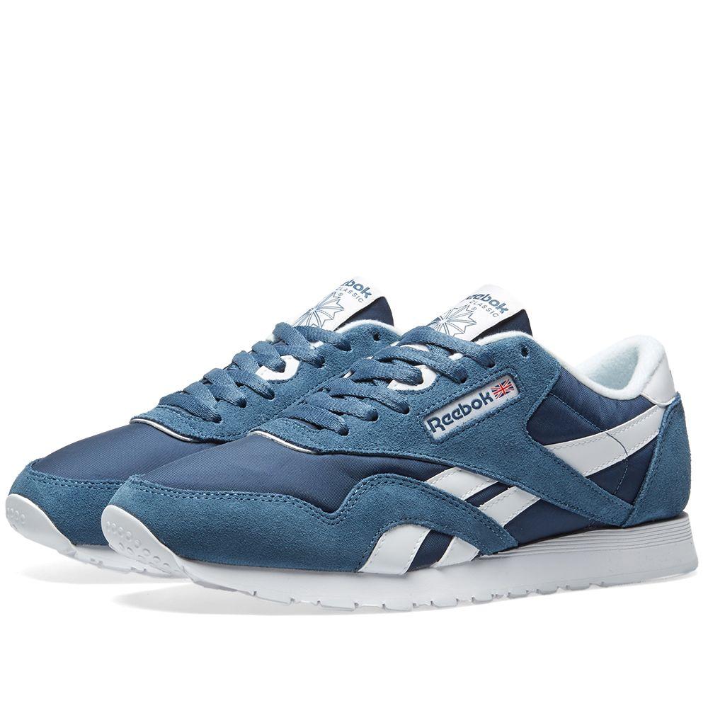 075daa7b55a8b Reebok Classic Nylon Brave Blue   White