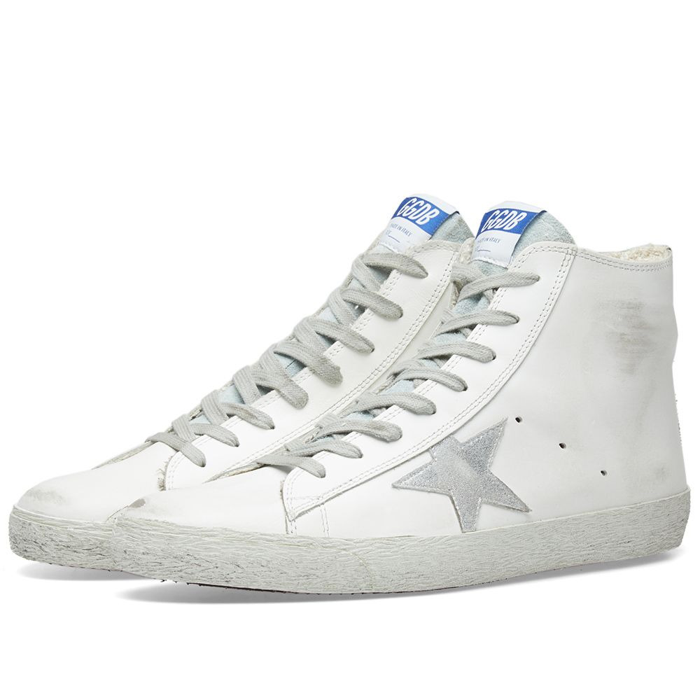 Golden Goose Deluxe Brand Francy Leather High Sneaker White   Silver ... 1979c48b6a2