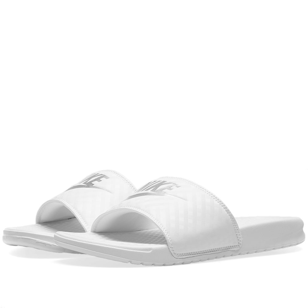 0f27dff3bcfc66 Nike Benassi JDI W White   Metallic Silver