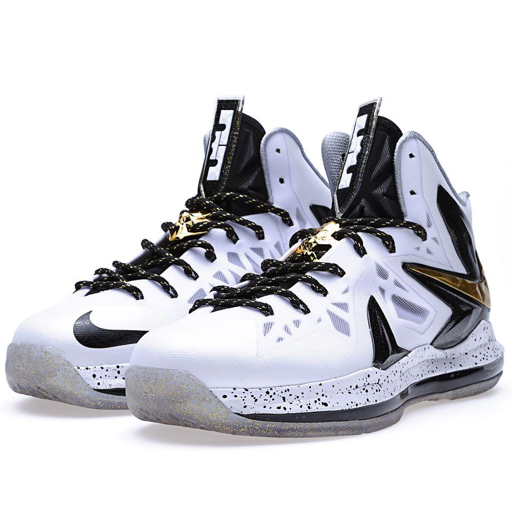 cee453ccdff Nike Lebron X PS Elite  Home  White Metallic Gold   Black