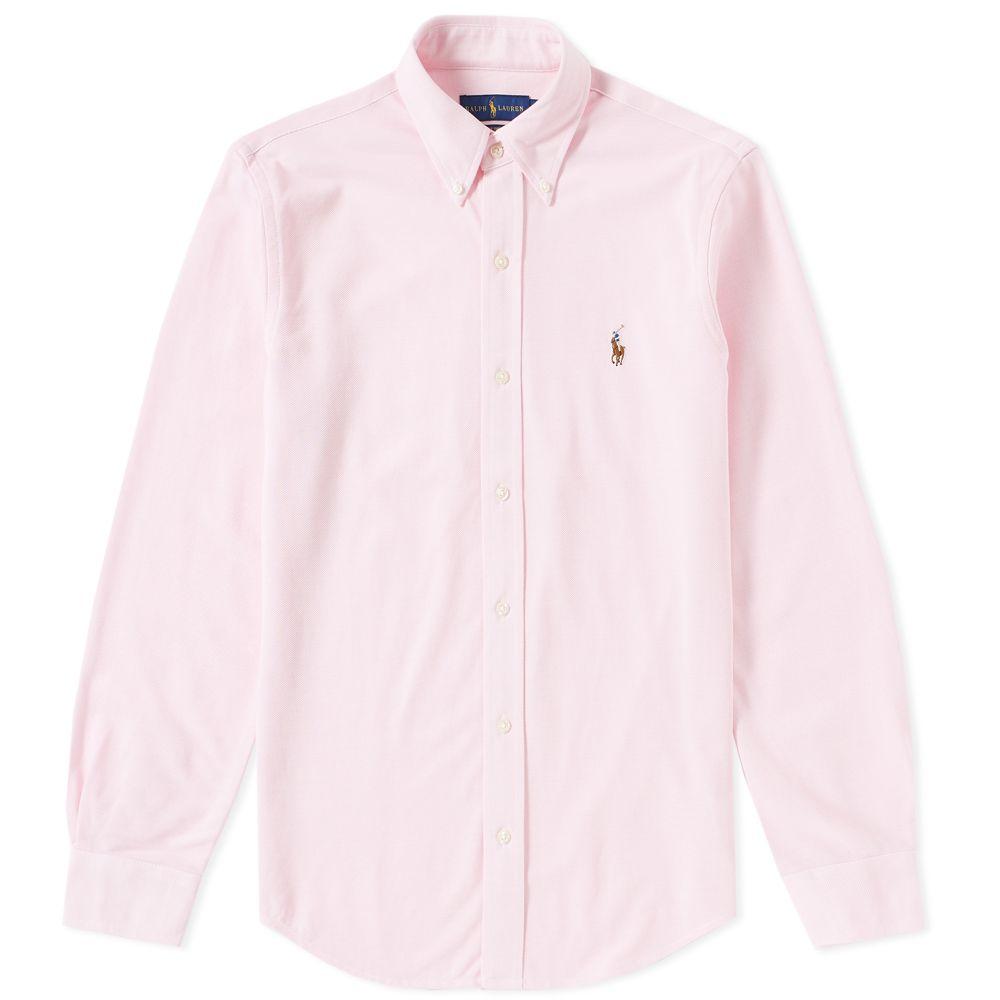 Super Polo Ralph Lauren Slim Fit Button Down Pique Shirt Carmel Pink | END. QB-38