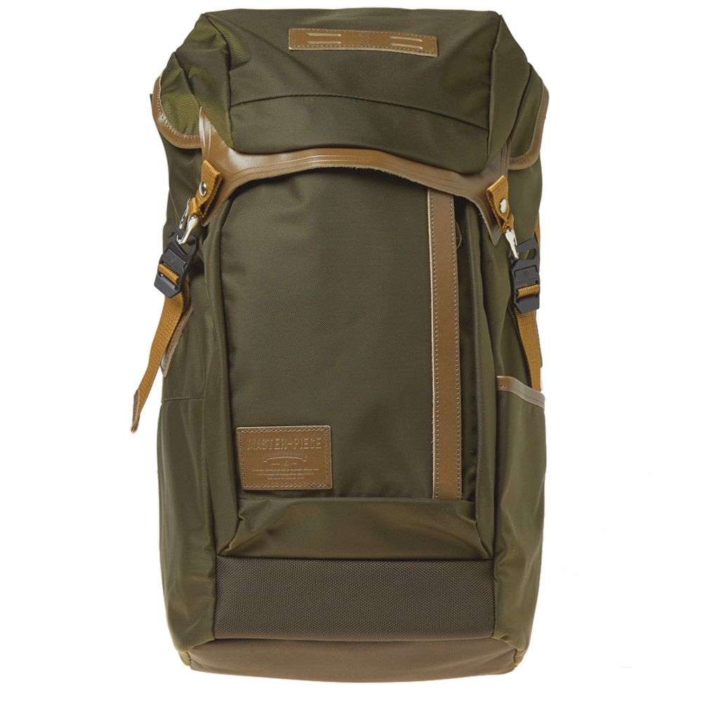 66ff4825e6a2 Master-Piece Potential Leather Trim Backpack Khaki