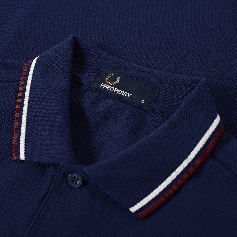 7c07a1f8b50e9 Fred Perry Long Sleeve Twin Tipped Polo Carbon Blue, Ecru & Mahogany ...