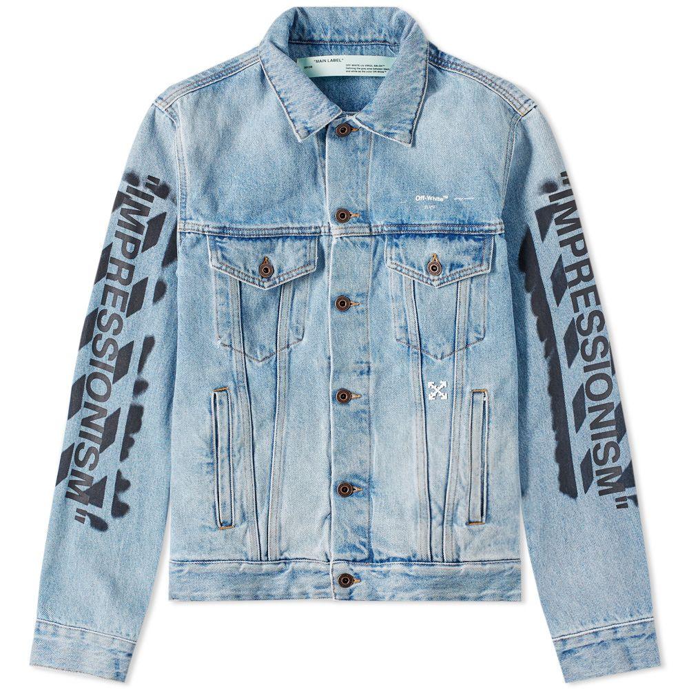 70af64063e8e Off-White Slim Vintage Diagonals Denim Jacket Black Wash