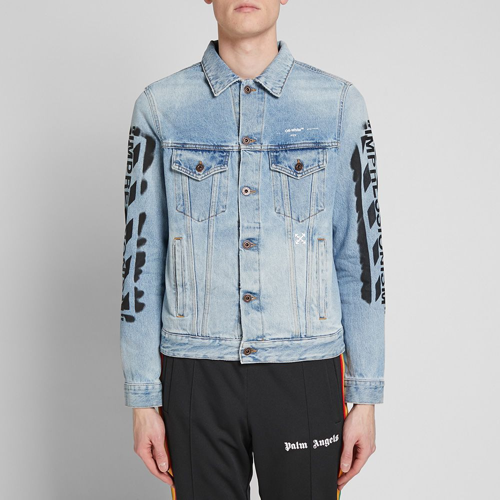 62fe64dc00d4 Off-White Slim Vintage Diagonals Denim Jacket Black Wash