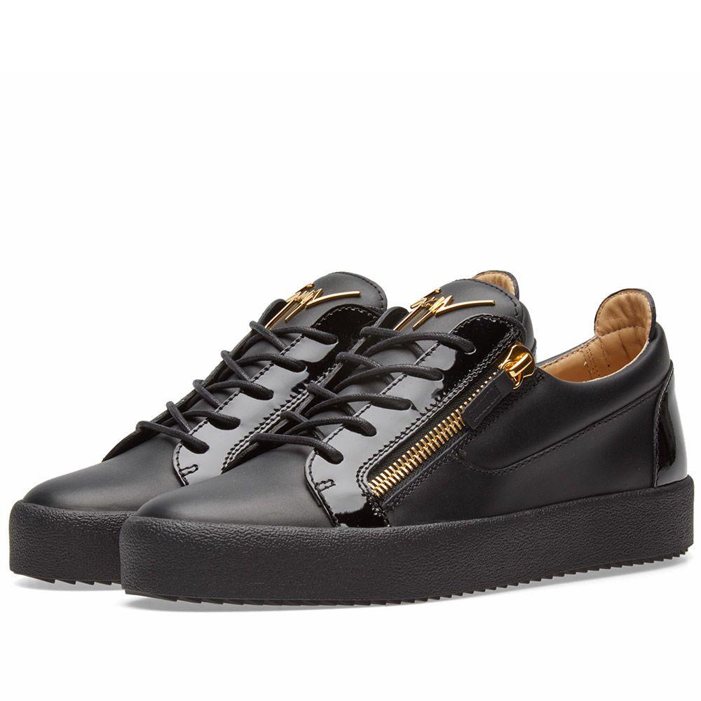 77daadf2a6a2 Giuseppe Zanotti Double Zip Low Sneaker Gold   Black