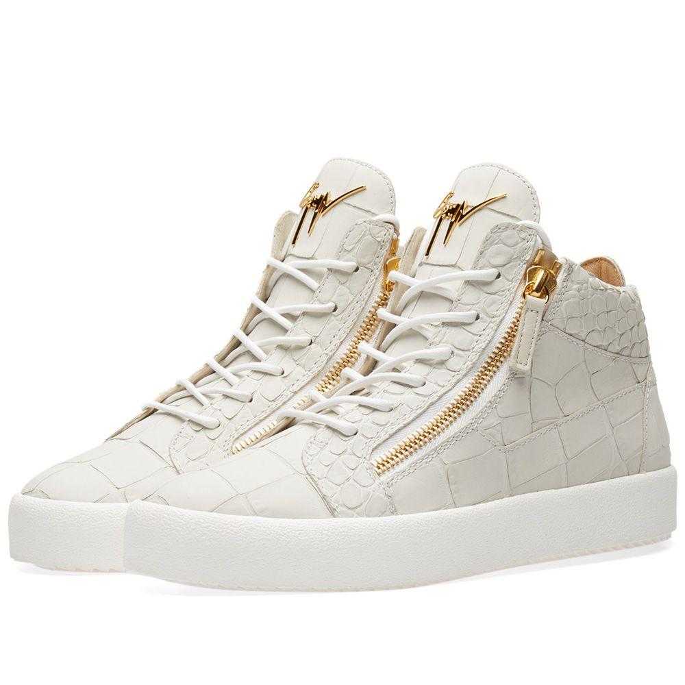 6638bb51dfe2 Giuseppe Zanotti Leather Croc Double Zip Mid Sneaker White   Gold
