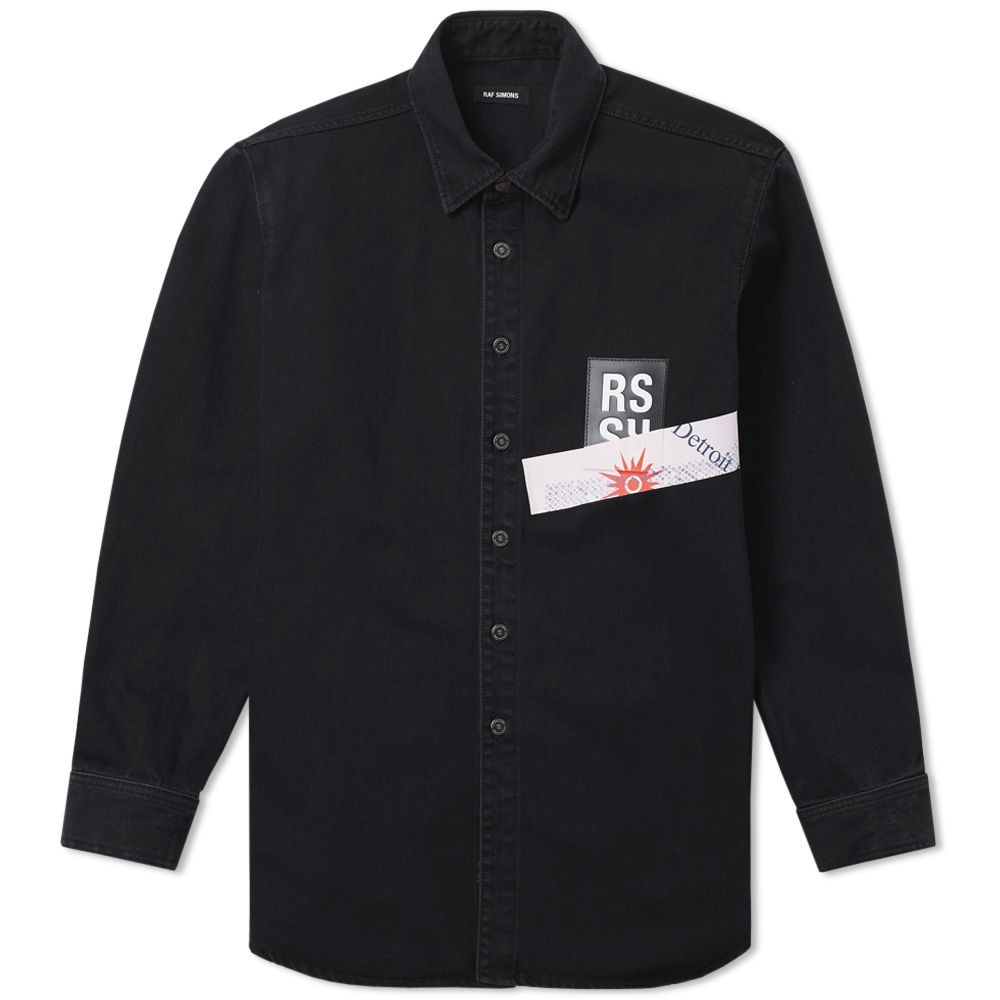 21a2230997 Raf Simons Patch Logo Denim Shirt Black   Pink