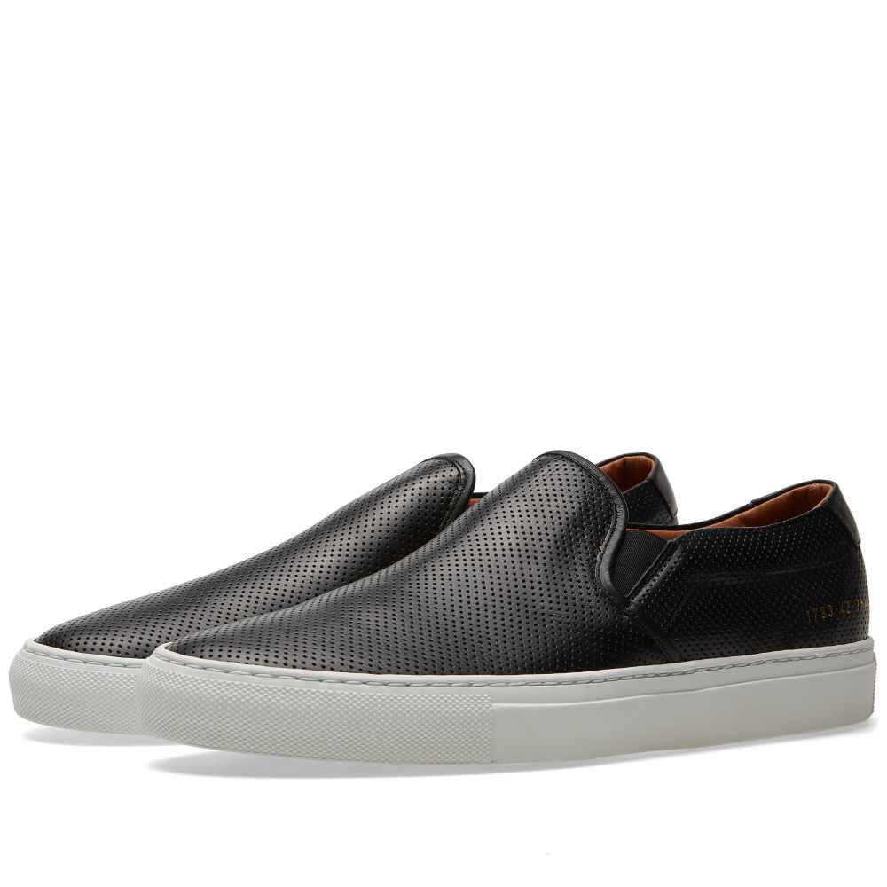 44edbf680eef2 Common Projects Perforated Nappa Slip On Black
