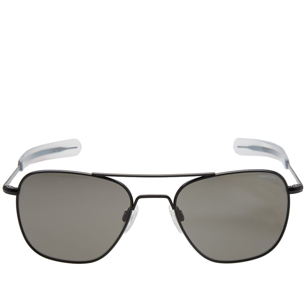 8d9de3aeb43 Randolph Aviator Sunglasses Matte Black   Grey