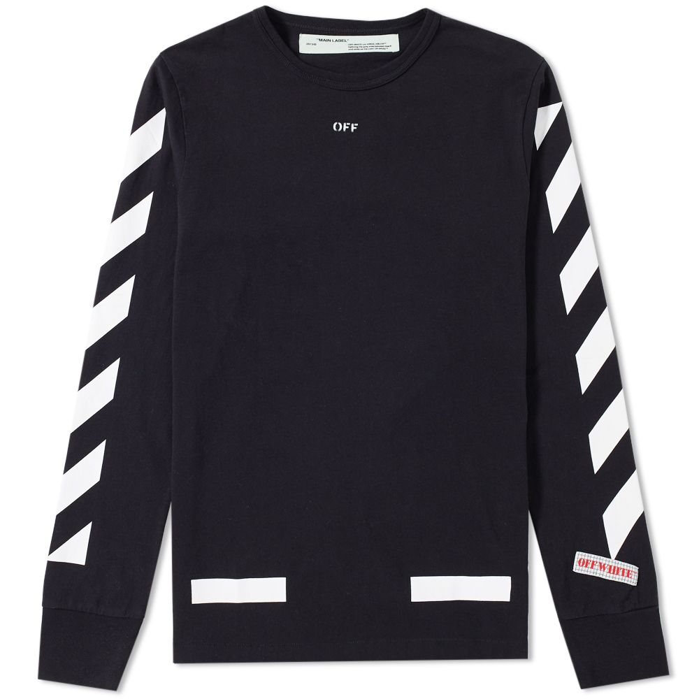 22692f8a5d6a6 Off-White Diagonal Arrows Long Sleeve Tee Black   White
