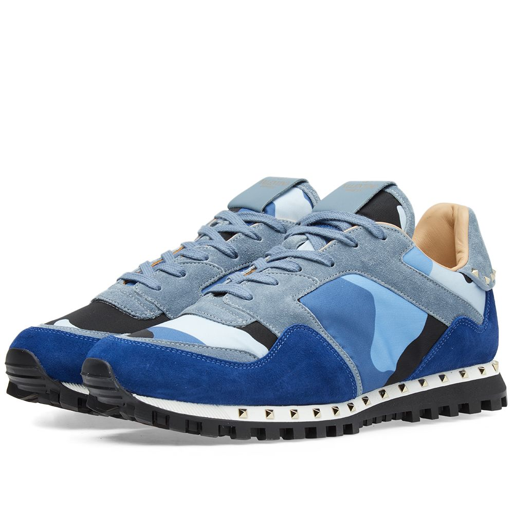 5b6d716b0e76 Valentino Stud Sole Rockrunner Sneaker Blue Camo