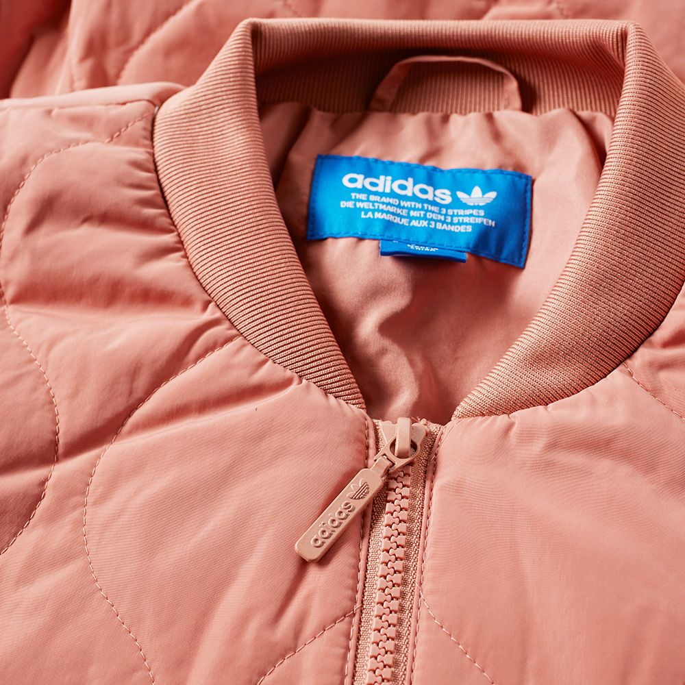 c9e0b89a3bd2 Adidas Quilted Bomber Jacket Raw Pink