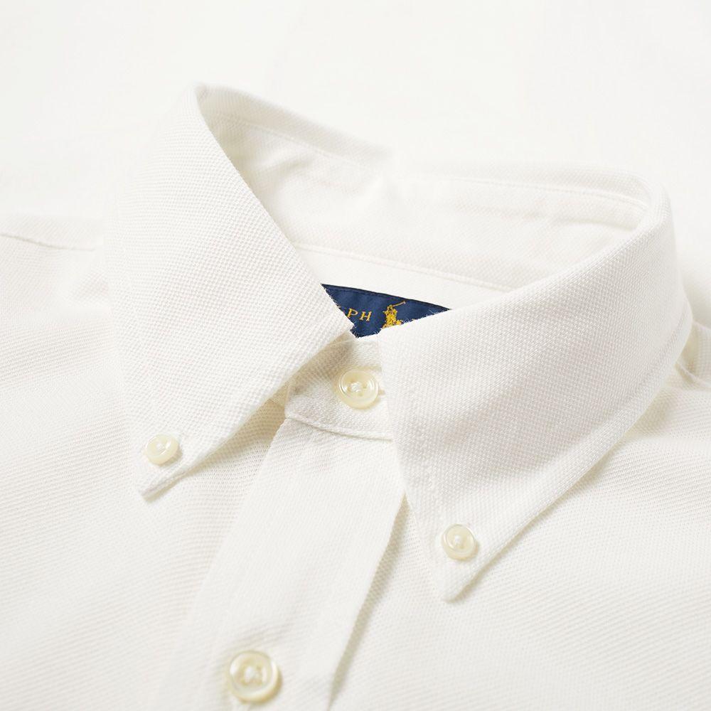 Polo Ralph Lauren Slim Fit Button Down Pique Shirt White End