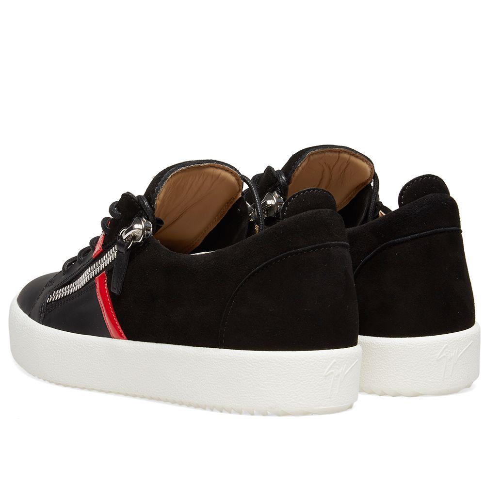 54444879f190 Giuseppe Zanotti Double Zip Leather Band Sneaker Black   Red