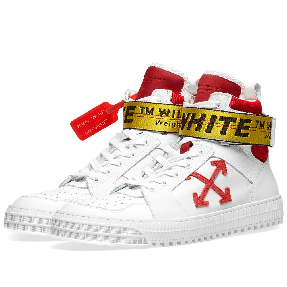 c834e8c36365 Off-White Industrial Belt Hi Top Sneaker White   Red